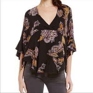 Free People Maui Wowie poncho boho blouse